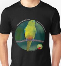 Orange-bellied Parrot - Small white text for dark background Unisex T-Shirt