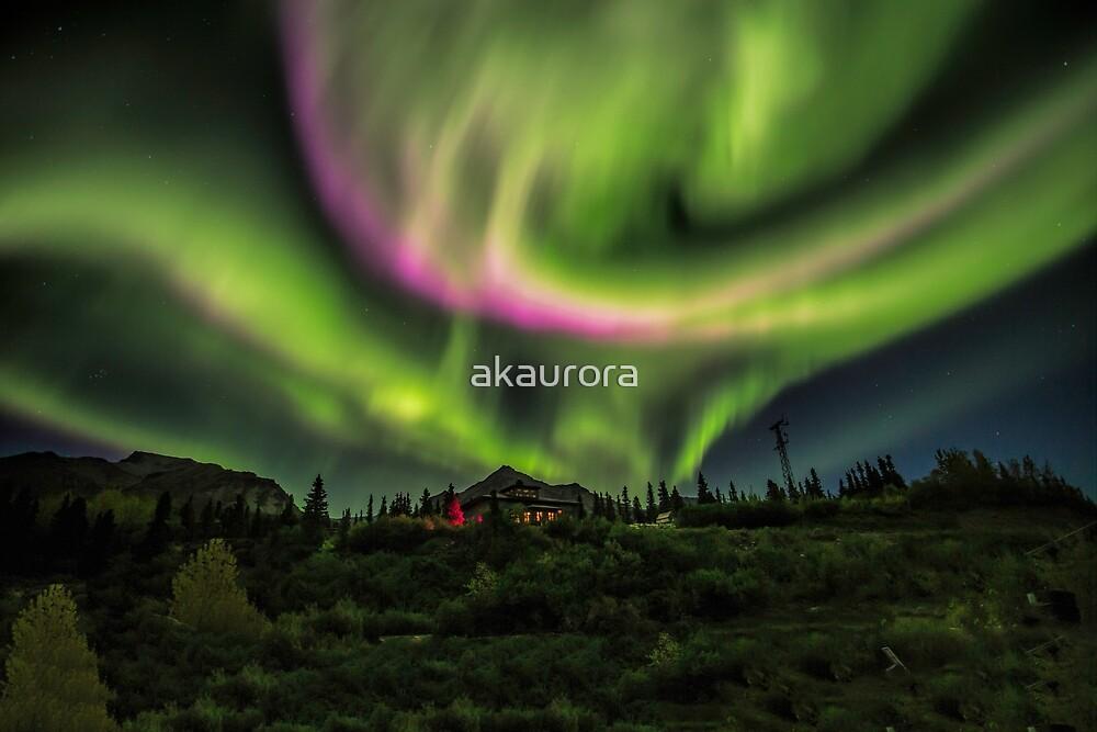 Aurora Over The Lodge by akaurora
