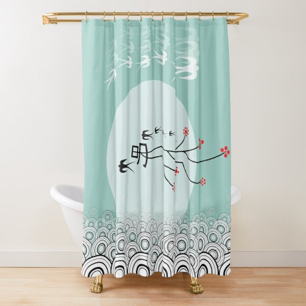 Oriental Swallows And The Bright Round Moon On Aqua Blue Shower Curtain