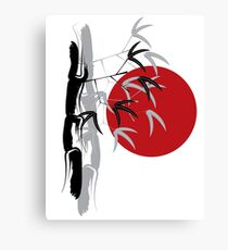 Oriental Zen Bamboo And Red Sunset Canvas Print