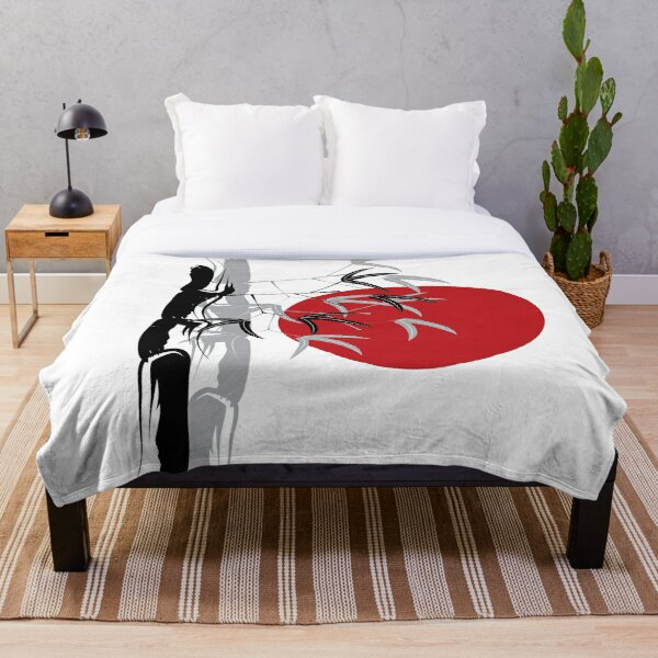 Oriental Zen Bamboo And Red Sunset Throw Blanket