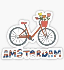 Amsterdam Netherlands Bike Tulips Sticker