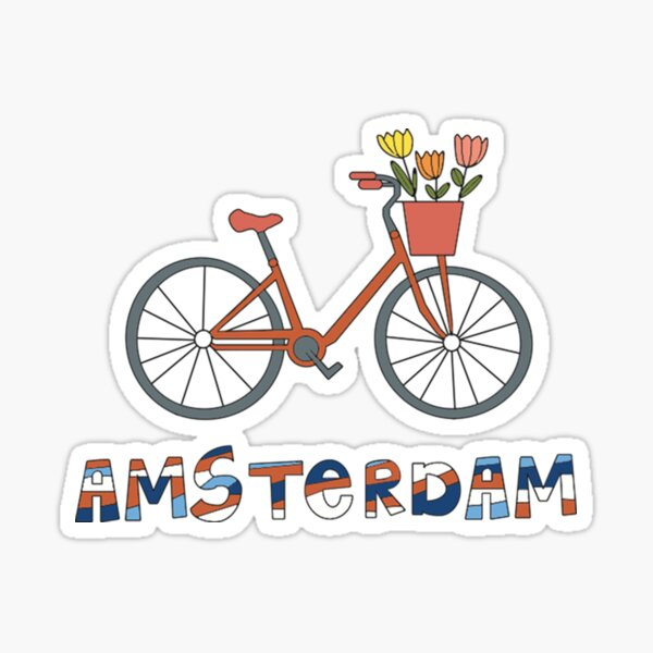 Amsterdam Pays-Bas Bike Tulipes Sticker