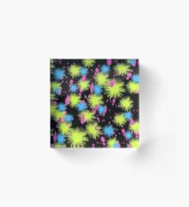 Paint Color Splatters on Black, Abstract Acrylic Block