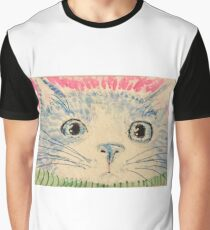 Blue cat  face watercolor paiinting Graphic T-Shirt