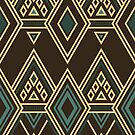 Art Deco Diamonds: Teal Gold and Chocolate by Aakheperure