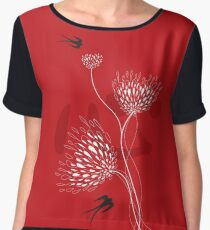 Oriental Black Swallows With Chinese Calligraphy 'Xin' (Heart) and White Dandelion Flower Blooms On Red Women's Chiffon Top
