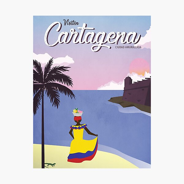 Cartagena Vintage Travel Poster Photographic Print
