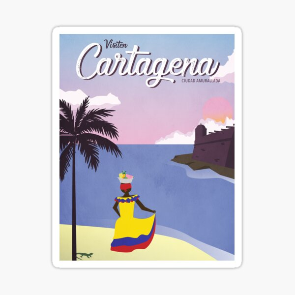 Cartagena Vintage Travel Poster Sticker