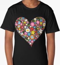 Whimsical Spring Flowers Red Valentine Heart Long T-Shirt