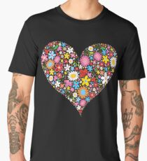 Whimsical Spring Flowers Red Valentine Heart Men's Premium T-Shirt