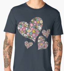 Whimsical Spring Flowers Pink Valentine Hearts Quartet Men's Premium T-Shirt