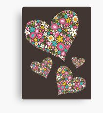 Whimsical Spring Flowers Pink Valentine Hearts Quartet Canvas Print
