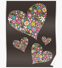 Whimsical Spring Flowers Pink Valentine Hearts Quartet Poster