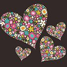 Whimsical Spring Flowers Pink Valentine Hearts Quartet by fatfatin
