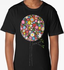 Whimsical Colorful Spring Flowers Pop Trees Long T-Shirt