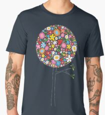 Whimsical Colorful Spring Flowers Pop Trees Men's Premium T-Shirt