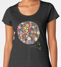 Whimsical Colorful Spring Flowers Pop Trees Women's Premium T-Shirt