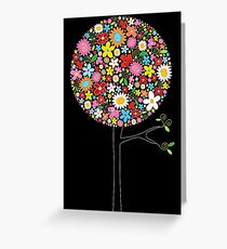 Whimsical Colorful Spring Flowers Pop Trees Greeting Card