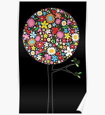 Whimsical Colorful Spring Flowers Pop Trees Poster