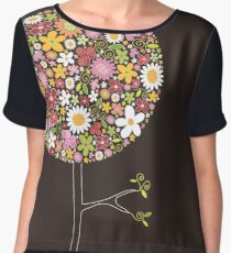 Whimsical Pink Pop Tree with Colorful Spring Flowers Women's Chiffon Top
