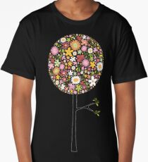 Whimsical Pink Pop Tree with Colorful Spring Flowers Long T-Shirt