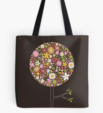 Whimsical Pink Pop Tree with Colorful Spring Flowers Tote Bag