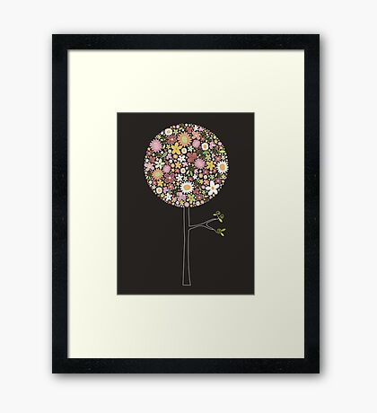 Whimsical Pink Pop Tree with Colorful Spring Flowers Framed Print