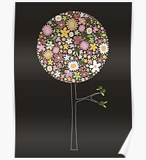 Whimsical Pink Pop Tree with Colorful Spring Flowers Poster