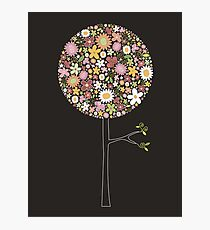Whimsical Pink Pop Tree with Colorful Spring Flowers Photographic Print
