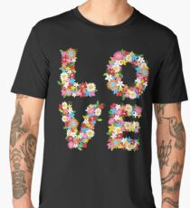 LOVE Spring Flowers in Red Men's Premium T-Shirt