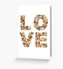 LOVE Spring Flowers in Pink Greeting Card