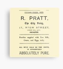 "VINTAGE ADVERT FOR THE ""CITY DAIRY"" - Circa 1860 Metal Print"