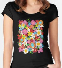 Whimsical Spring Flowers Power Garden II Women's Fitted Scoop T-Shirt