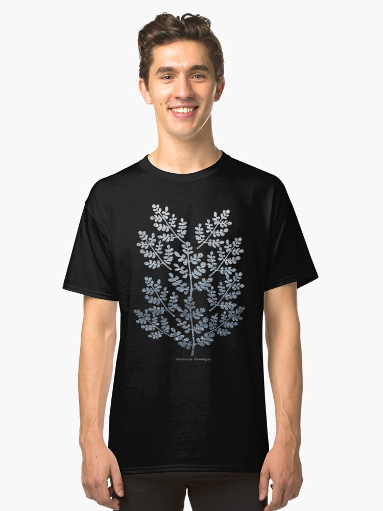 Silver leaves & A Merry Christmas greeting card ( 1252 Views) Classic T-Shirt Front
