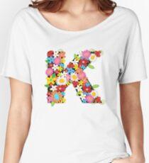 Spring Flowers Alphabet K Monogram Women's Relaxed Fit T-Shirt