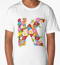 Spring Flowers Alphabet K Monogram Long T-Shirt