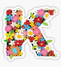 Spring Flowers Alphabet K Monogram Sticker