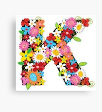 Spring Flowers Alphabet K Monogram Canvas Print