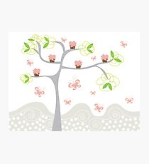 Whimsical Pink Cupcakes Tree Photographic Print