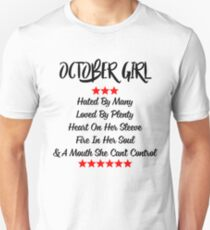 October Girl Heart On Her Sleeve Fire In Her Soul T-shirt T-Shirt