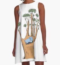 Tree Hand with Cute Sleepy Koala A-Line Dress