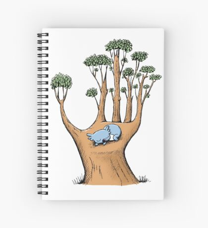 Tree Hand with Cute Sleepy Koala Spiral Notebook