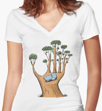 Tree Hand with Cute Sleepy Koala Fitted V-Neck T-Shirt
