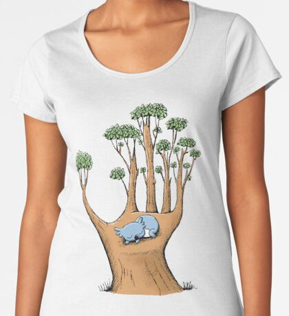 Tree Hand with Cute Sleepy Koala Premium Scoop T-Shirt