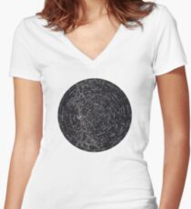 Star Constellation Map Women's Fitted V-Neck T-Shirt