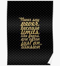 "Never say never... ""Michael Jordan"" Inspirational Quote Poster"