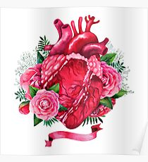 Watercolor heart with floral design Poster