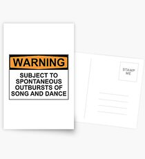 WARNING: SUBJECT TO SPONTANEOUS OUTBURSTS OF SONG AND DANCE Postcards