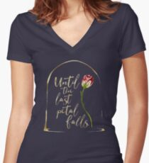 Until the last petal falls. Beauty and the Beast. Women's Fitted V-Neck T-Shirt